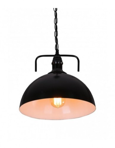 Rustic Country-style Black Dome Pendant Light
