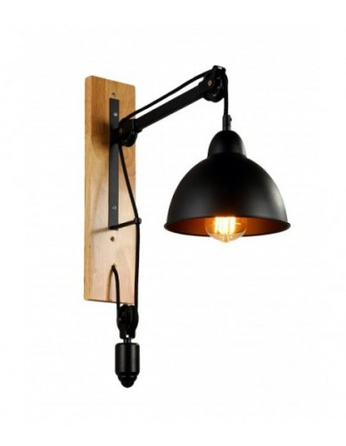 Black Metal and Natural Wood Wall Sconce