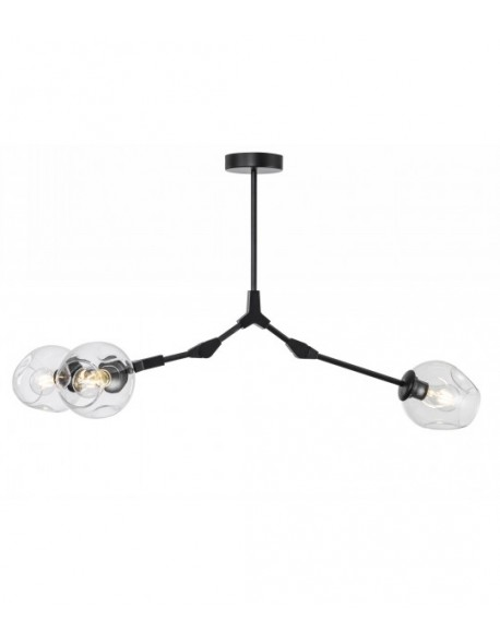 Modern Design Full-angle Adjustable 3-Light Branching Bubble Ball Matte Black Pendant Light with Clear Glass Shades