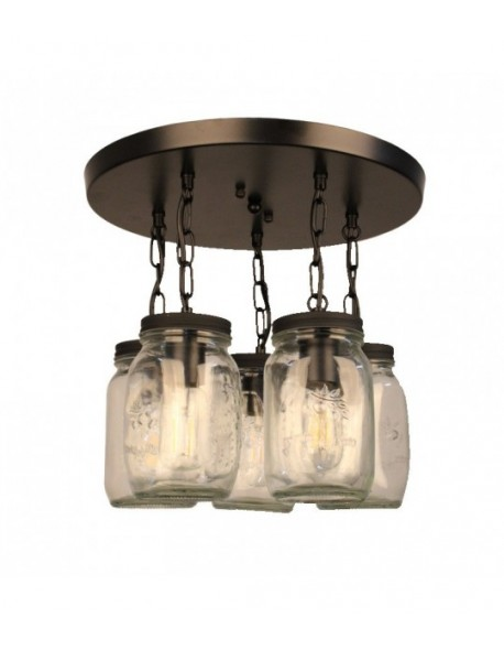 5-Light Clear Mason jar Glass Semi Flush Mount