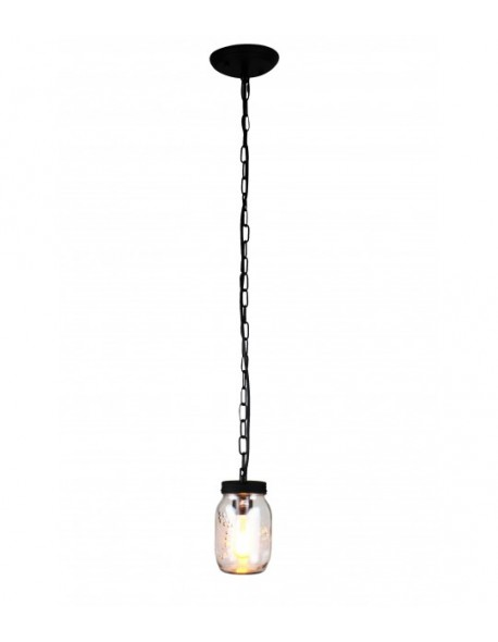 1-Light Clear Glass Mason jar Pendant Light Chandelier