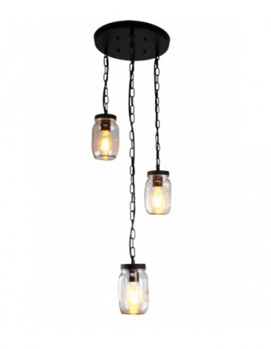 3-Light Clear Glass Mason jar Pendant Light Chandelier