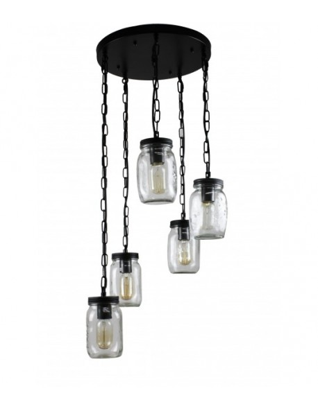 5-Light Clear Glass Mason jar Pendant Light Chandelier