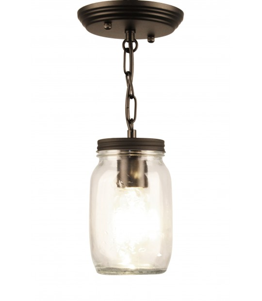1 Light Clear Mason Jar Glass Semi Flush Mount Bella Depot