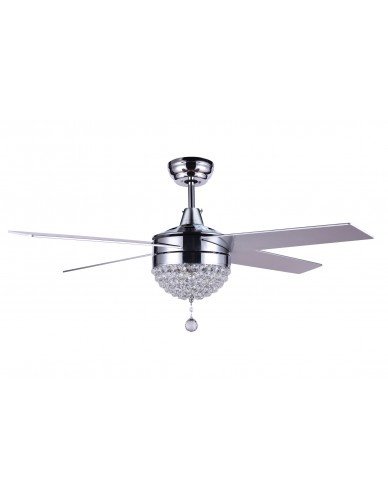 "48"" Modern Crystal Ceiling Fan With LED Light, Remote Control, Reversible"