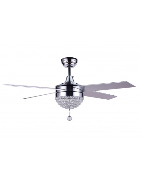 "48"" Dimmable Crystal Ceiling Fan With LED Light, Remote Control, Reversible"