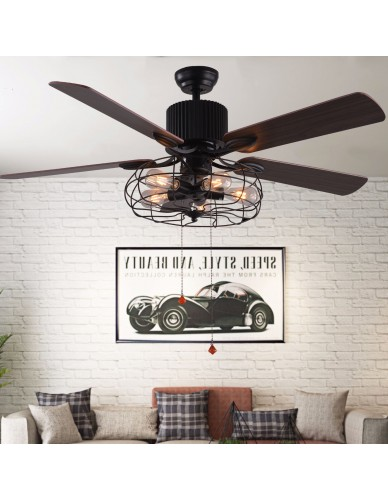 5 Light Black Vintage Industrial Ceiling Fan with Remote, Reversible Blades
