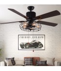 "42""/48""/52"" 5-Light Black Vintage Industrial Ceiling Fan with Remote, Reversible"