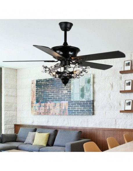 "52"" Chrome 5-Blade Reversible Branches Crystal Ceiling Fan"