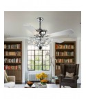 """52"""" Chrome 5-Blade Reversible Branches Crystal Ceiling Fan"""