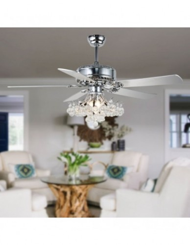 "52"" Reversible Chrome Branches Crystal Ceiling Fan with 5 Blades"