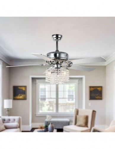 "52"" Chrome Crystal Drum Shade Reversible Ceiling Fan with 5 Blades"