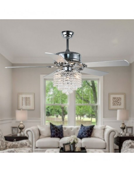 "52"" 5-Blade Reversible Crystal Ceiling Fan Fandelier with Remote"