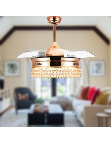 "42"" Gold Crystal Cedroom Ceiling Fan with Led Light and Remote, Foldable Blades"