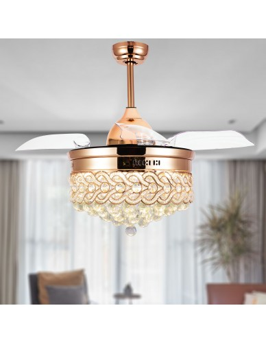 "Dimmable 42"" Modern Crystal Ceiling Fan with Light, Retractable Chandelier Fan"