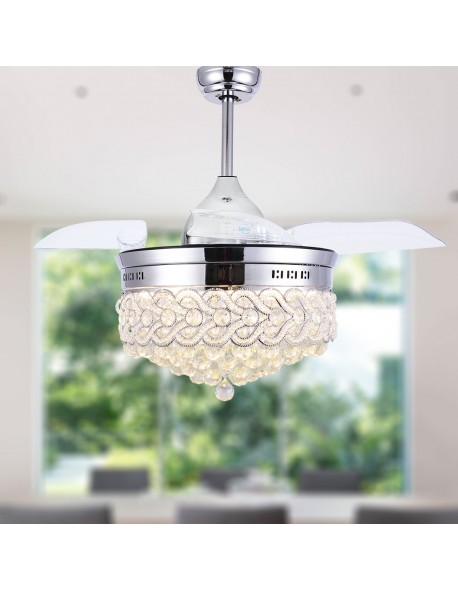 Crystal Retractable Fandelier Ceiling Fan