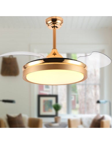 "36"" / 42"" Contemporary Retractable Bladeless Ceiling Fan with LED Light & Remote, Gold"
