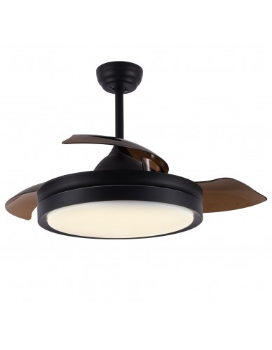 "36"" / 42"" Black Ceiling Fan with Light and Remote, Industrial Cool Retractable Ceiling Fans"
