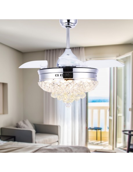 Crystal Ceiling Fan with LED Light