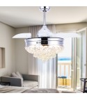 42-inch 4 retractable Blades Fancy Ceiling Fan with Light and Remote