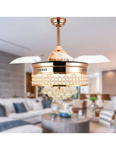 "42"" Crystal Chandelier Ceiling Fan with Remote and Lights, Brushed Nickel Ceiling Fan"