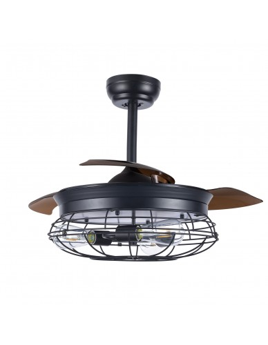 "36"" / 42"" Modern Industrial 3-Light Retractable Ceiling Fan with Remote and Cage Frame"