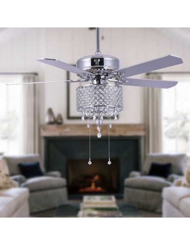 "52"" Chrome Crystal Ceiling Fan with Crystal Drum Shade, Reversible, Remote"